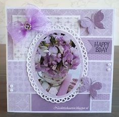 Nicolette's+kaarten:+Happy+Bday Card Making Tips, Making Ideas, Birthday Cards Handmade Female, Hunkydory Crafts, Art Impressions Stamps, Shabby Chic Cards, Square Card, 3d Cards, Marianne Design