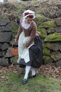 "Fashion Through History - 18th century tavern wench attire - paired with ""Kensington"" 18th century shoes in black leather."