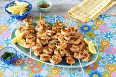 These Lemon-Garlic Grilled Shrimp Skewers Will Be Devoured in Secondsthepioneerwoman Grilling Recipes, Fish Recipes, Seafood Recipes, Grilled Shrimp Skewers, Grilled Tilapia, Appetizer Salads, Appetizer Recipes, Appetizers, Cooking