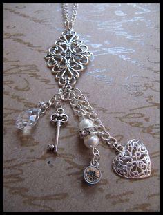 Cluster Charm Necklace Skeleton Key