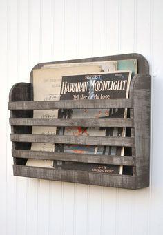 Distressed Magazine File Menu Holder Rustic Dark Gray Grey Brown Graphite Vintage Design Storage Organizer Shabby Antiqued on Etsy, $38.00