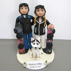 Reserved for Abbey balance due for custom Snowboarding Wedding Cake Topper with Siberian Husky by clayinaround on Etsy