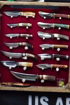 Cabinet of custom knives - Randall, Behring