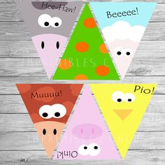 BANNERS fiesta de cumpleaños Granja Decoración granja Farm Animal Party, Farm Animal Birthday, Barnyard Party, Farm Birthday, Farm Party, Birthday Party Themes, Farm Costumes, Diy Backdrop, Farm Theme