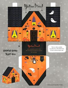 Halloween haunted house printable by Julissa Mora. Dulceros Halloween, Image Halloween, Adornos Halloween, Manualidades Halloween, Halloween Haunted Houses, Holidays Halloween, Halloween Decorations, Halloween Paper Crafts, Imprimibles Halloween