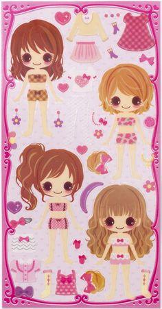 summer girls dress up doll 3D stickers