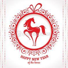 carte de voeux de nouvel an avec cheval — Vecteur #31820581