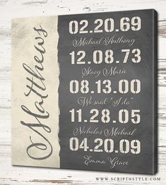16x16 Put the most important and meaningful dates of your life in print with this personalized custom canvas sign. This sign can include important