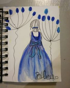Blue drawriot2017 day13of365 Female, Blue, Art, Watercolor Painting, Art Background, Kunst, Performing Arts, Art Education Resources, Artworks