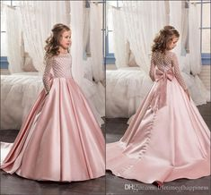 Pink Color Flower Girl Dresses 2017 Satin Bottom Kids Evening Gowns Beaded Long Sleeves Girls Pageant Dresses