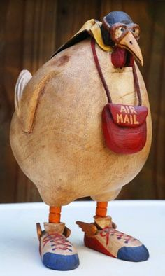 """""""Air Mail"""" by Robert Stebleton Wood ~ x – """"Posta aerea"""" di Robert Stebleton Wood ~ 11 """"x – – Wood Wall Art – Winter is Coming, Legno di recuperoThierry Martenon ~ Wood Sculpture 2011 (Ash, EscDonna Davis Taylor vaso 6 """"x / di DDT Paper Mache Sculpture, Wood Sculpture, Paper Sculptures, Ceramic Animals, Ceramic Art, Ceramic Pottery, Carpentry Projects, Carpentry Tools, Painted Gourds"""