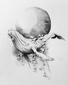 Tribute to many of the talentuous artists of Inktober, the greatest drawing challenge of the year. Tattoo Illustration, Illustration Artists, Illustrations, Whale Illustration, Whale Sketch, Whale Drawing, Fall Drawings, Dark Art Drawings, Reading Tattoo