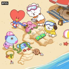 by BTS summer on the beach Bts Chibi, Fanart Bts, Bts Drawings, Line Friends, Billboard Music Awards, Bts Lockscreen, Bts Fans, I Love Bts, Bts Group