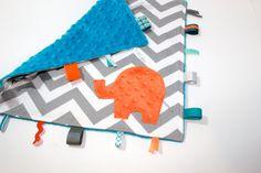 Chevron Elephant nursery pillow toy ELLE turquoise orange grey gray plush for modern baby. $28.00, via Etsy.
