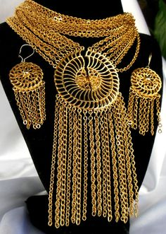 Statement Necklace and Earring Set Gold Split Sun by Ladysfancys, $54.99