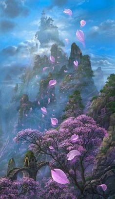 Đào lâm nơi vườn nhà ta nở rộ, ngàn vạn cánh hoa bay rợp trời, phủ lên cả núi non trùng điệp