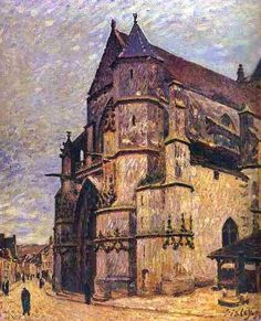 The church of Moret-sur-Loing in winter by Alfred Sisley