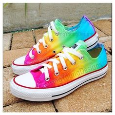 Items similar to TIE DYE CONVERSE Rainbow Custom Tie Dye Converse on... ❤ liked on Polyvore featuring shoes, sneakers, converse shoes, tie dyed shoes, rainbow footwear, rainbow shoes and converse footwear
