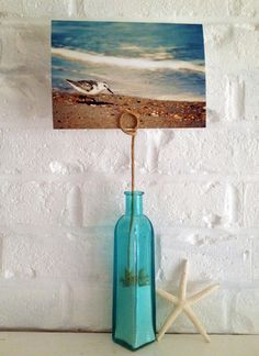 Great Idea for Beach Vacation!  Photo Holder Turquoise Beach Glass Vase Wire by BeachBumChix, $20.00