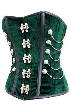 The Violet Vixen - Sherlock Emerald Velvet Green Corset, $174.57 (http://thevioletvixen.com/corsets/sherlock-emerald-velvet-green-corset/)