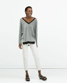 T-SHIRT WITH DRAPED BACK | Zara