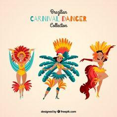 Três bailarinas de carnaval brasileiras