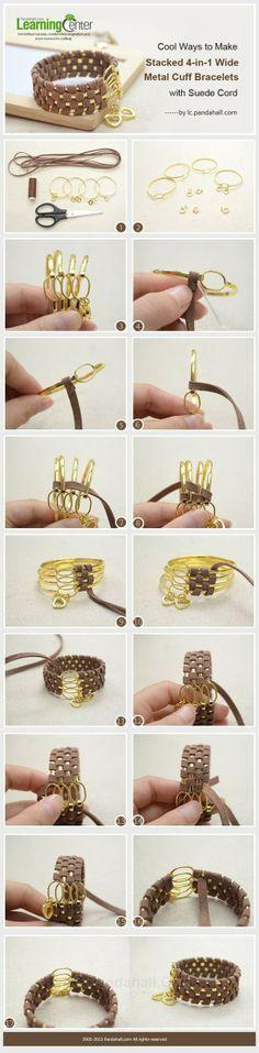 饰品DIY教程:麂皮线金属手镯