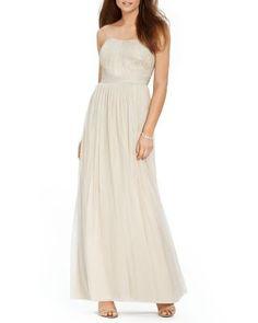Lauren Ralph Lauren Gown - Strapless Metallic Tulle | Bloomingdale's