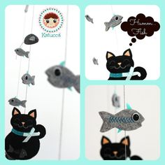 READY TO SHIP Baby Mobile  Cat's Family Mobile  Baby by Katucca