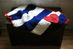 My newest creation! Just had to share. :) Crocheted Baby Blanket Anchors Away Hearts by stephaniewillingham, $90.00