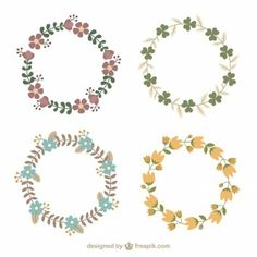 Hand drawn floral wreaths types