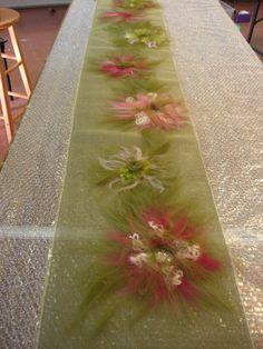 Salt Spring Craft: NUNO FELTED SHAWLS.  Cute table runner for baby/bridal shower