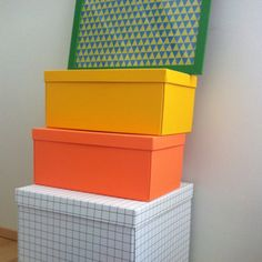 HAY boxes and poster made from wrapping paper