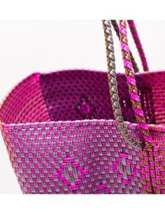 LARGE PINK, GOLD AND SILVER PLASTIC MEXICO PLAYA TOTE