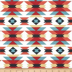 Enchanted Organic Serape Multi from @fabricdotcom  Designed by Michelle Engel Bencsko for Cloud 9, this GOTS certified organic cotton print fabric is perfect for quilting, apparel and home decor accents. Colors include black, sunshine, red, coral orange, turquoise and white.