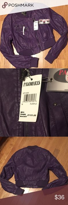 Palomares Sports NEW Cropped Bomber Jacket Brand new purple leather-like jacket. Some Zippers are still covered. Retails for $129.00. Polomares Sports Jackets & Coats