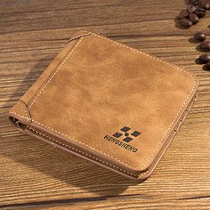 Men's Wallet Retro Frosted Transverse Leather Short Purse Bifold Money Credit Card Case ID Card Pocket Male Bag