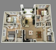 Two Bedroom Apartment Floor Plans . 19 Awesome Stock Of Two Bedroom Apartment Floor Plans . Stunning Two Bedroom Apartment Floor Plans Interior 3d House Plans, House Blueprints, Small House Plans, 3 Bedroom Floor Plan, 4 Bedroom House Plans, Layouts Casa, House Layouts, Apartment Layout, Apartment Design
