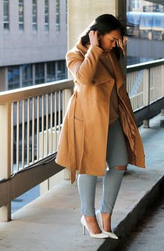 """BLOG — Robinson Style ASOS Funnel Neck Coat (Also in black), Forever 21 waffle knit sweater (old; similar save + splurge), Gap 1969 silky high-rise skinny jean (distressed them myself - also have the navy pair seen here), Charles David """"Pact"""" pump"""