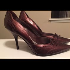 Bcbg shoes never worn.  Price drop  Wine color BCBG shoes.  Can be worn with a dress or cute pair of jeans. BCBGirls Shoes Heels
