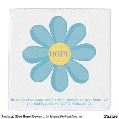 Psalm 31 Blue Hope Flower Limestone Coaster