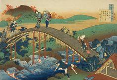 Katsushika Hokusai (1760-1849) - People Crossing an Arched Bridge, 1835-36