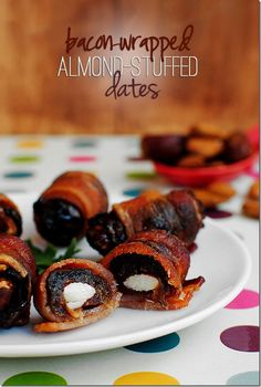 Bacon Wrapped Almond Stuffed Dates. Savory, sweet, chewy, decadent!
