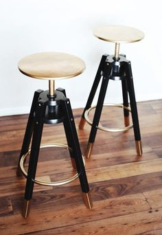 Gold and Black Stools *IKEA stools spray painted!