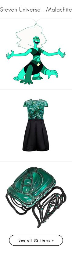 """""""Steven Universe - Malachite"""" by marielw97 ❤ liked on Polyvore featuring dresses, mixed print dress, green color dress, ted baker, green dress, green day dress, jewelry, bracelets, red and red bangles"""