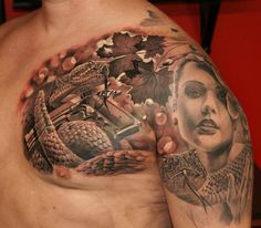344c8f772 Realistic 3D cobra, gun and lady tattoo on chest and shoulder.. Click the