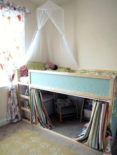 Kura bed hack – Love this little reading cubby. So easy to make with Ikea's Kura loft bed and a shower curtain and rod. Looks so tidy with the curtain closed. Ikea Loft, Girl Room, Girls Bedroom, Bedroom Ideas, Baby Bedroom, 4 Year Old Girl Bedroom, Kura Bed, Kids Bunk Beds, Kid Furniture