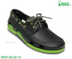 bcc6337db35402 Crocs Crocs Beach Line Onyx   Volt Green Mens Boat Shoes