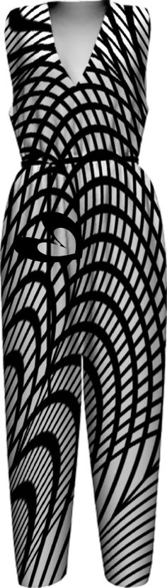 STRIKING BLACK AND WHITE ZEN-TANGLE ABSTRACT TANGLED HEART  vfs-fashion-167 WOMEN JUMPSUIT PAOM-VFS from Print All Over Me
