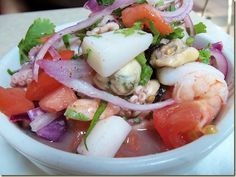 Seafood Ceviche from the Equadorian vendor in the Latin Food Court. Spanish Meals, Spanish Food, Seafood Ceviche, Comida Latina, Food Concept, Food Court, Latin Food, Caprese Salad, Tasty Dishes